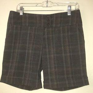 Forever,brown dressy stripe plaid shorts. Size M.